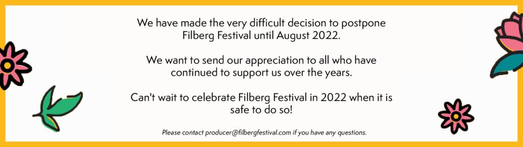 Filberg Festival Postponement
